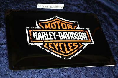 Harley Davidson  20x30 cm Blechschild Rost Label Logo Schild Sign USA US Eagle