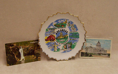 Vintage Arkansas Souvenirs Lot Of Dish & 2 Postcards