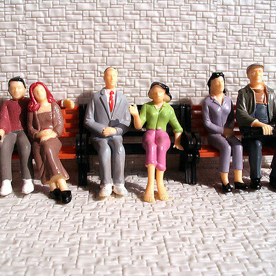 6 pcs All Seated G Scale 1:24 Painted Figure People