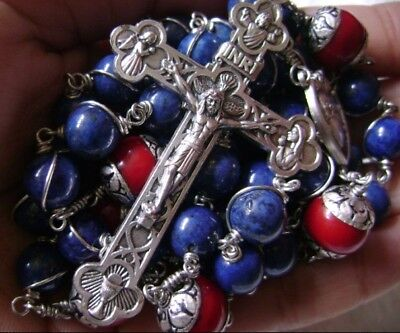 Sterling 925 Silver Lapis lazuli Beads Rosary CROSS CRUCIFIX CATHOLIC NECKLACE