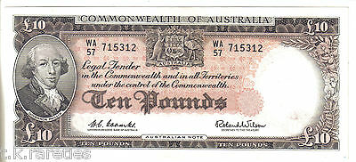 RARE UNC Coombs Wilson Ten Pound. Commonwealth Of Australia. A quality note.