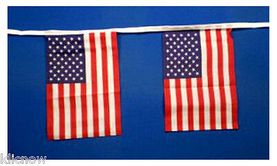 USA Bunting 9mtr 30ft Long with 30 Cloth fabric Flags