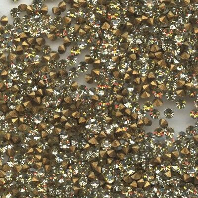 451030 *** 60 STRASS ANCIENS FOND CONIQUE JONQUIL 1,7mm