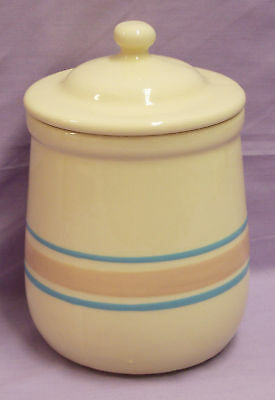 MCCOY COFFEE CANISTER 135 PINK BLUE STRIPE Stoneware Tea CONTAINER 7""