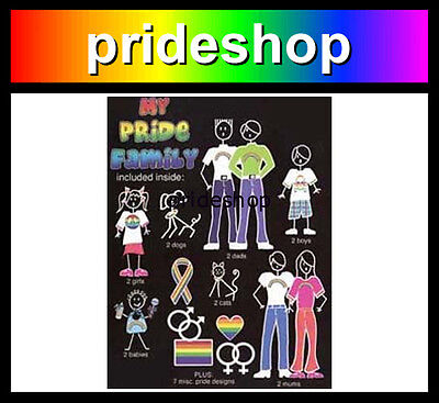 My Family Rainbow Adhesive Sticker Set Gay Lesbian Pride #15