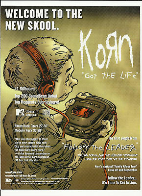 KORN & COWBOY MOUTH Got life Trade Ad POSTER of 97 CD