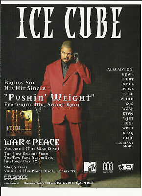 ICE CUBE Pushin Weight Trade Ad POSTER for War Peace CD