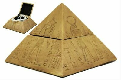 Egyptian Gods Deities Anubis Horus Hathor Sekhmet Pyramid Jewelry Box Figurine