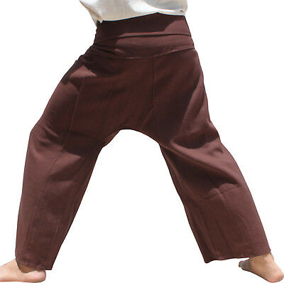 Thick Soft Weave Cotton Fisherman Pants Burnt Umber Brown