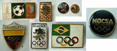 set of 7 vintage old rare Olympic games pin badges DEAL