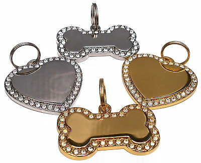 Personalised Diamante Bling Dog Pet ID Tag Bone Heart, Any Details Engraved