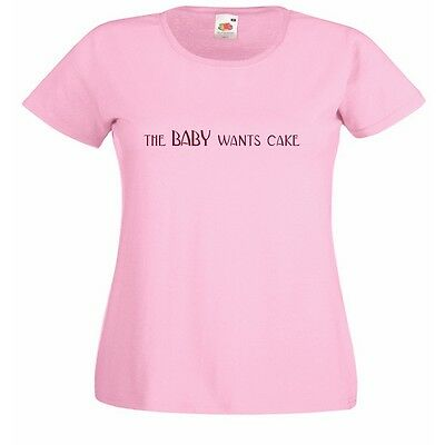 THE BABY WANTS CAKE pregnant logo Lady Fit Pink T-Shirt