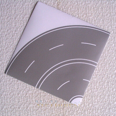 4 pcs HO scale Grey Curved ROAD STRIP selfstick #1/4