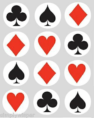 12 Playing Cards Poker Cupcake Decoration Edible Cake Toppers Casino Pre Cut