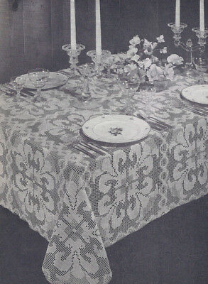 Vintage Crochet PATTERN Shadow Filet Orchid Tablecloth