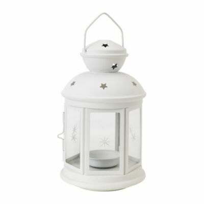 12 White metal miners lantern wedding table party event room decoration 21cm hig