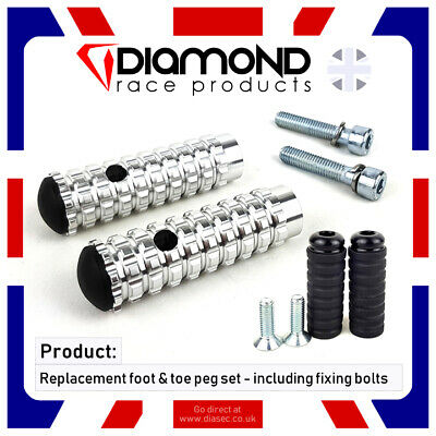 DIAMOND RACE PRODUCTS - REPLACEMENT TOE & FOOT PEGS FOR REARSETS M6 6mm M8 8mm