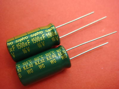 20P x SANYO 16V 1500UF ULTRA LOW ESR CAPACITOR JAPAN
