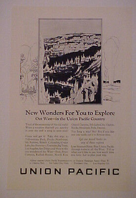 1926 UNION PACIFIC RAILROAD~TRAIN OUT WEST WONDERS AD