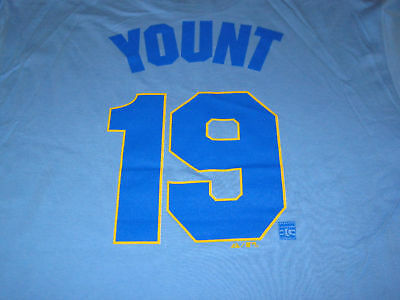 check out 5b6a0 08f82 MILWAUKEE BREWERS ROBIN Yount LIGHT BLUE JERSEY SHIRT(S)NWT