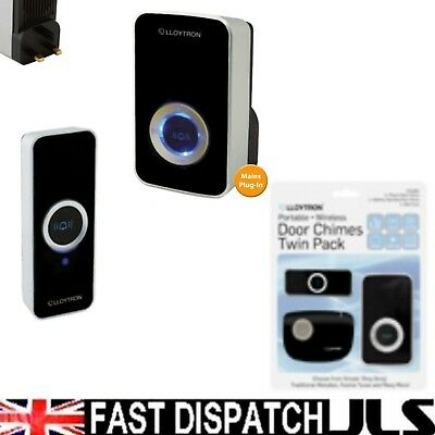Wireless PLUG IN Mains Door Bell Chime Strobe TWIN PACK
