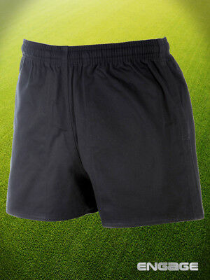 "Engage Rugby Cotton Drill Black Shorts Sizes 30"" - 44"""