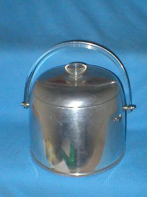 Vintage Kromex Lucite Handle Ice Bucket w/ Lid Chrome