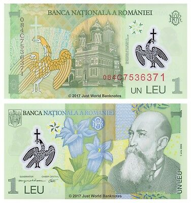 Romania 1 Leu 2005 (2008) Polymer P-117 Mint UNC Uncirculated Banknotes
