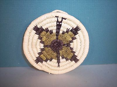 Hopi Miniature Coiled Butterfly Basket by E  Tawahongva