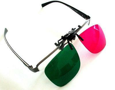 Clip-On 3D Glasses for 3D DVD and Blu-Ray Films with Green and Magenta Lenses