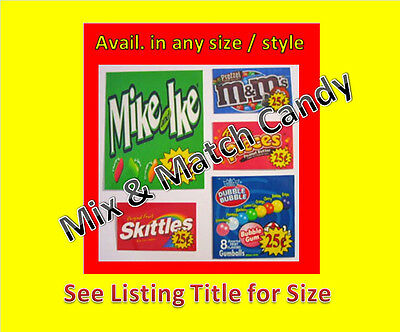 12 2.5 x 2.5 Vinyl Peel & Stick VENDING candy labels WITH PRICE