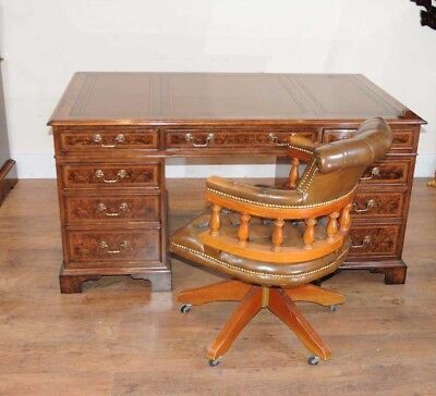 Regency Pedestal Desk Walnut Writing Table Office Desks