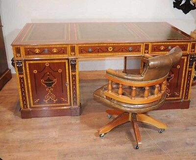 Sheraton Partners Desk Writing Table Regency Inlay Bure
