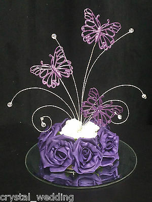 Crystal Butterfly arrangment rose wedding table centrepiece