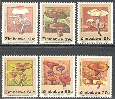 Zimbabwe, 1992, Edible Mushrooms, Sg 826-831, Mnh Set