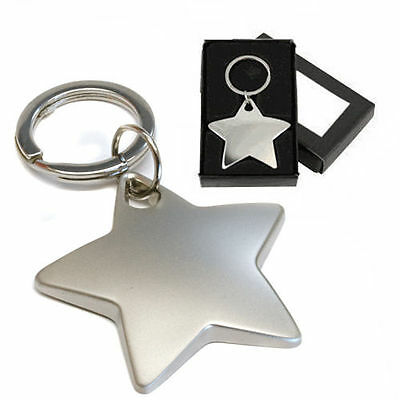 30 Personalised Matt Chrome Star Keyrings Engraved With Ant Message