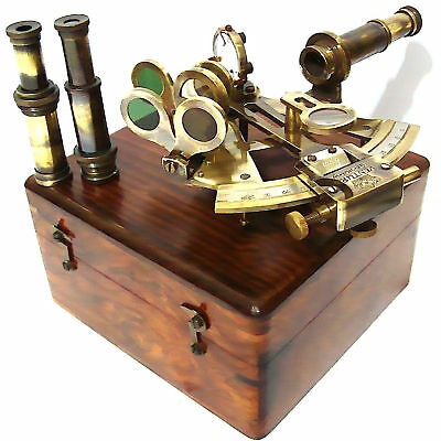 VENTURA  Brass Ship Sextant with Two Lances & Box