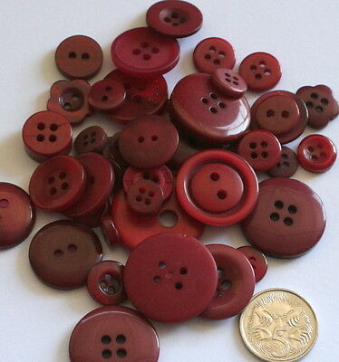 50 BUTTONS - BURGUNDY  - Craft Scrapbooking Sewing