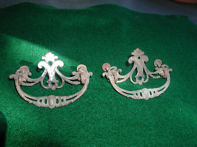 Pair of Hand Made Brass Pulls with Escutcheons