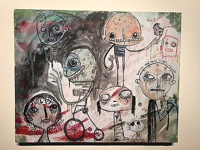 ORIGINAL Art painting GUS FINK Abstract Surreal Outsider Lowbrow WORK TOWARDS IT