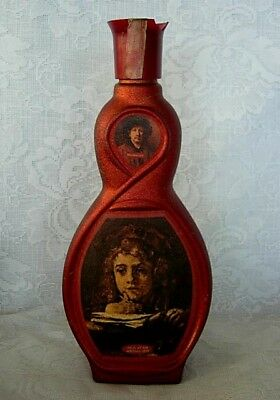 Unusual Vintage Dk.Red Glass Rembrandt Painting Bottle