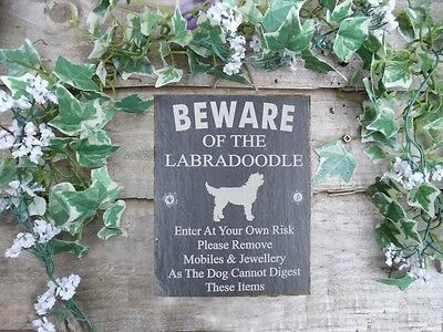 Humorous Beware Of The Labradoodle Slate Dog Plaque