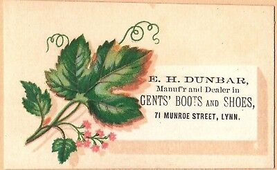 Victorian Trade Card: E H Dunbar Shoes - Lynn, MA