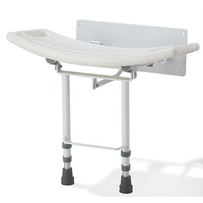 Wall mounted folding fold down shower seat chair stool bench adjustable legs