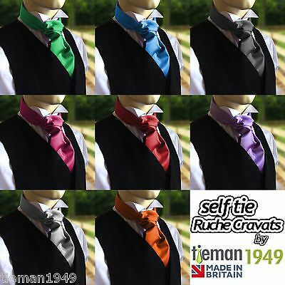 Self Tie Ruche Cravat Italian Satin Wedding Groom - to be worn with a waistcoat