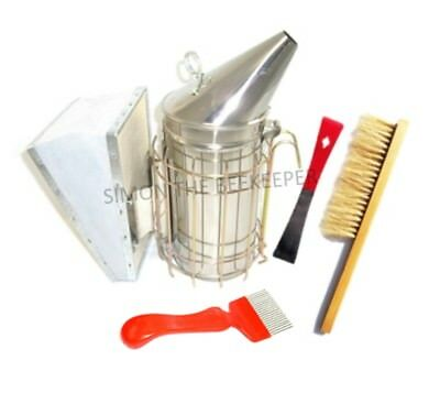 Stainless Steel Smoker, Half-Red Hive Tool, Straight Tine Uncapping Fork & Brush