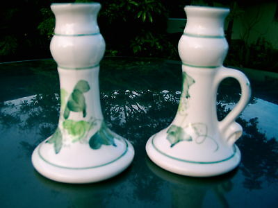 Set Of Two Hand-Painted Vintage Italy  2 Candle Holders Beautiful