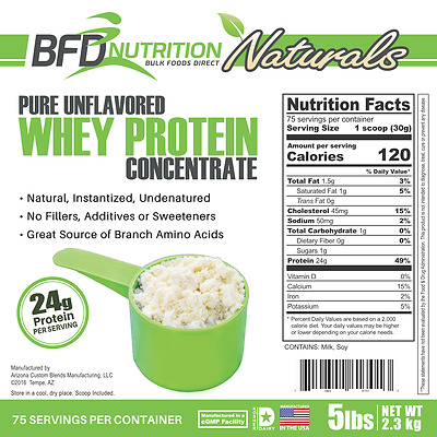 5lb Pure Whey Protein Concentrate - Bulk Foods Direct