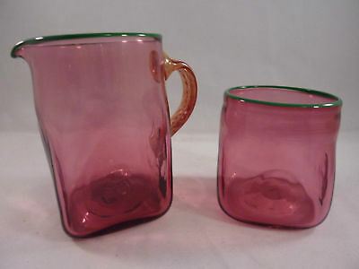 Vintage Art Glass Pink Cream And Sugar  Mint Condition