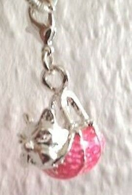 SILVER PLATE LOVELY SILVER,BLACK AND PINK NOSE COW  CLIP ON CHARM SO CUTE